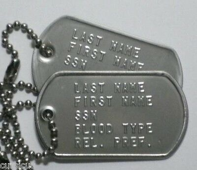 Us Army Authentic Personalized Dog Tags. Must See! Free Shipping