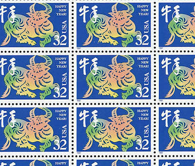 3120   32c  YEAR OF THE OX  NH SHEET OF 20    SPECIAL SALE @ FACE