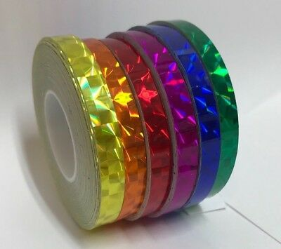 Any 6 Rolls of Prism Tape, 1/4 Inch x 25 feet,  Color Holographic Vinyl Tape