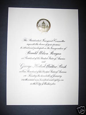 Ronald Reagan Original Mint Inaugural Invitation 1981