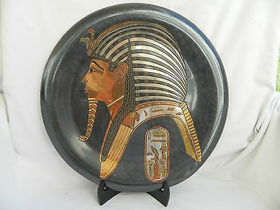 Egyptian Brass Wall Decor Plate Black Oxidized Pharaonic King Tut Mask 15.5""