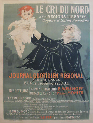 1920s ORIGINAL VINTAGE FRENCH ART DECO NEWSPAPER POSTER, LE CRI DU NORD - MICH