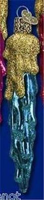 Blue Drippy Icicle W/gold Glitter Old World Christmas Glass Ornament Nwt 34026
