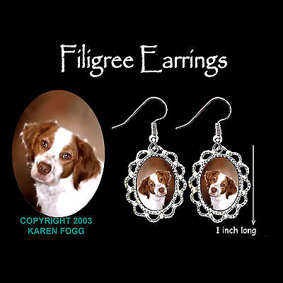 BRITTANY SPANIEL DOG - SILVER FILIGREE EARRINGS Jewelry