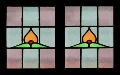 Eternal Flame Pair Victorian Antique English Stained Glass Windows