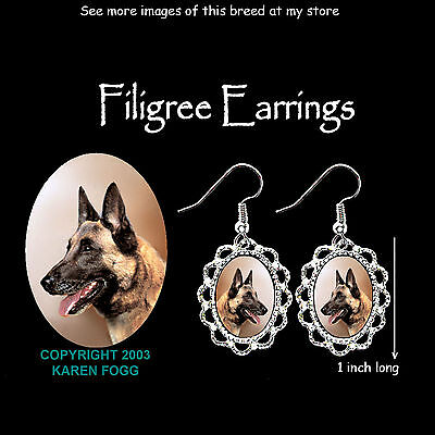 BELGIAN MALINOS DOG - SILVER FILIGREE EARRINGS Jewelry