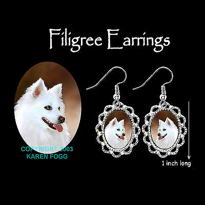 AMERICAN ESKIMO DOG - SILVER FILIGREE EARRINGS Jewelry