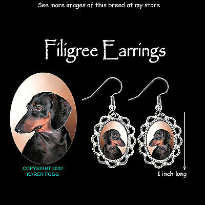 DACHSHUND DOG Smooth Black Tan Doxie - SILVER FILIGREE EARRINGS Jewelry