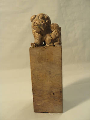 Awesome Antique Shoushan Chinese Seal Foo Dog & Pup