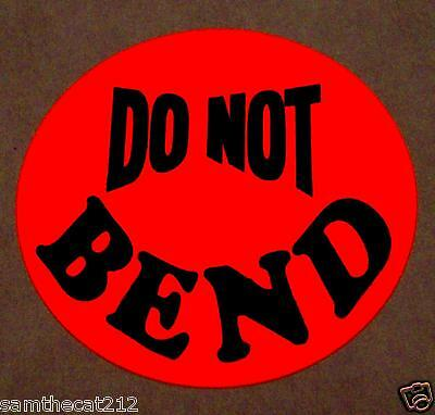 "500 Do Not Bend Label Sticker Big 1 1/2 1.5"" Round Circle"