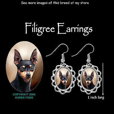 MINIATURE PINSCHER DOG Black - SILVER FILIGREE EARRINGS Jewelry