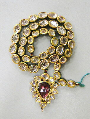 Vintage Enamel Work 20 K Gold Diamond Polki Kundan Necklace Rajasthan India