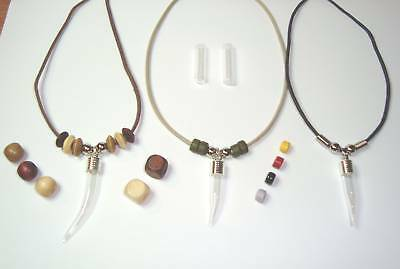 """Custom made Name on Rice Manly Men necklace & vial pendant tooth or tube 18-24"""""""