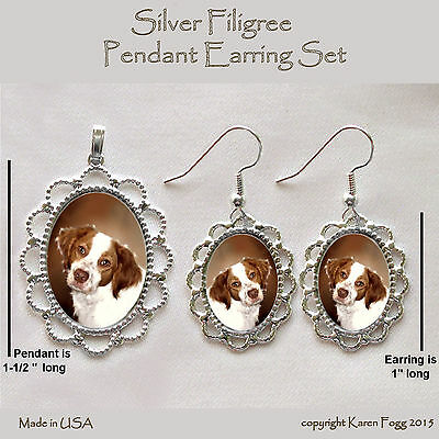BRITTANY SPANIEL DOG - Filigree PENDANT EARRING Set
