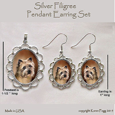 CAIRN TERRIER DOG - Filigree PENDANT EARRING Set