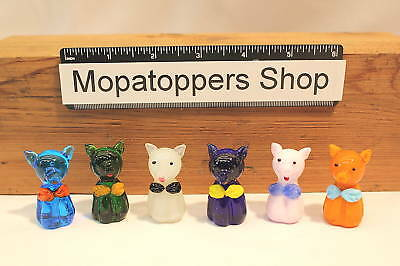 NEW Set Of 6 Colourful Glass Pigs