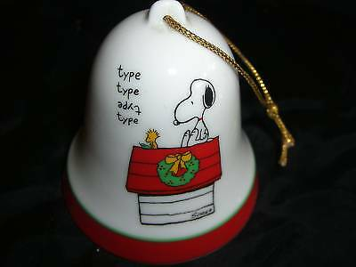 Vtg SNOOPY PEANUTS Porcelain Bell ORNAMENT Dear Santa Claus Letter Typewriter