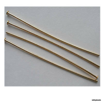 Headpins 50mm Gold plated thick hard  X100 top quality
