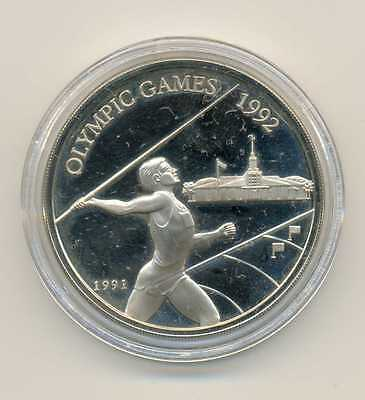 Western Samoa Olympic 1992 Silver 10 Dollars 1991 PROOF