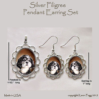 SHIH TZU DOG Pet Cut - Filigree PENDANT EARRING Set