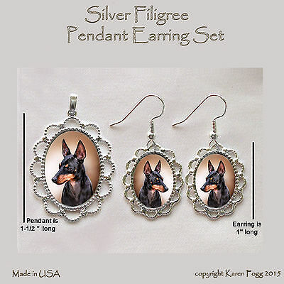 TOY MANCHESTER TERRIER DOG - Filigree PENDANT EARRING Set