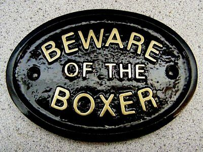 Beware Of The Boxer - House Door Plaque Sign Collar Lead
