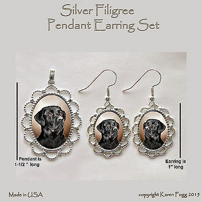 LABRADOR RETRIEVER DOG  Black Adult - Filigree PENDANT EARRING Set