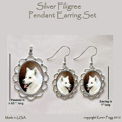 SAMOYED DOG - Filigree PENDANT EARRING Set