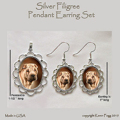 SHAR PEI DOG - Filigree PENDANT EARRING Set
