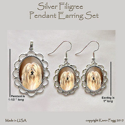 TIBETAN TERRIER DOG - Filigree PENDANT EARRING Set