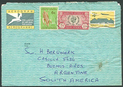 BRITISH SOUTH AFRICA TO ARGENTINA Air Letter RARE