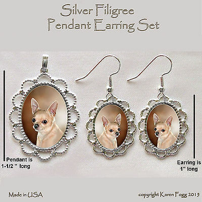 CHIHUAHUA DOG Smooth Fawn Adult - Filigree PENDANT EARRING Set