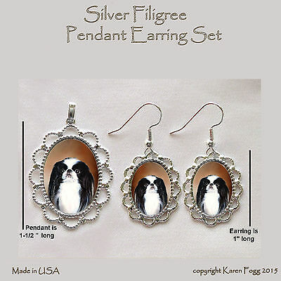 JAPANESE CHIN DOG - Filigree PENDANT EARRING Set