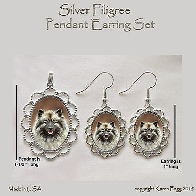 KEESHOND DOG -  Filigree PENDANT EARRING Set