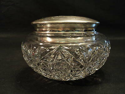 19th C. CUT GLASS HAIR RECEIVER w/ ALVIN STERLING LID