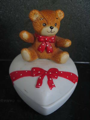 Enesco LUCY & ME HEART TRINKET BOX  Porc Bear  1983