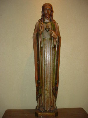 Antique Church Statue Carved Wood Sacred Heart + Moser