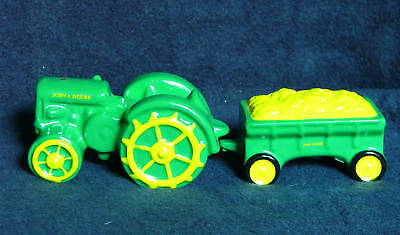 JOHN DEERE Salt & Pepper Shakers-GP/D Tractor,Wagon-NIB