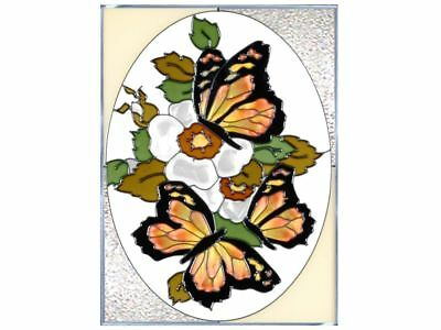 10x14 MONARCH BUTTERFLY Floral Stained Art Glass Suncatcher