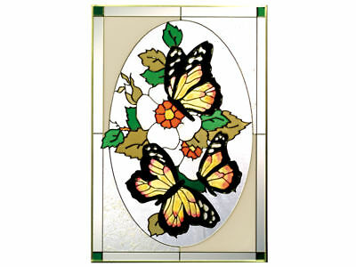 14x20 MONARCH BUTTERFLY Floral Stained Art Glass Suncatcher