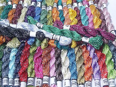 50 Embroidery Silk Threads glitter Skeins, 50 different Colours, Best Quality