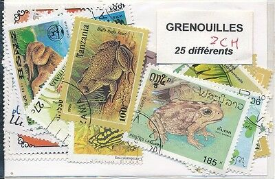 ZCH - GRENOUILLES - 25 TIMBRES DIFF. OBLI. Ts PAYS