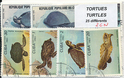 ZCN - TORTUES : 25 TIMBRES DIFF. OBLI. Ts PAYS