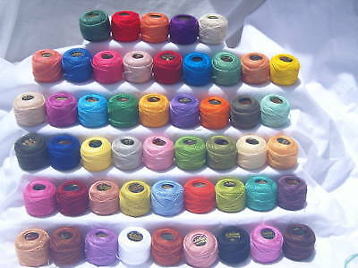 50 ANCHOR Pearl Cotton Balls. Size 8  (85 Meters each), 50 different Colours