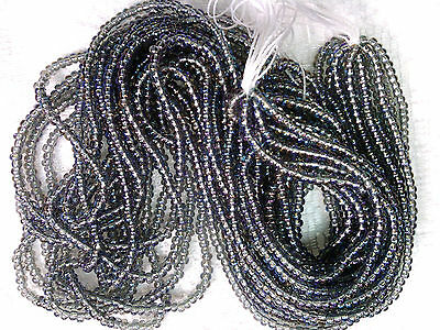 Vtg 1 HANK  BLACK DIAMOND AB SEED BEADS-8/0-COOL! #083110l