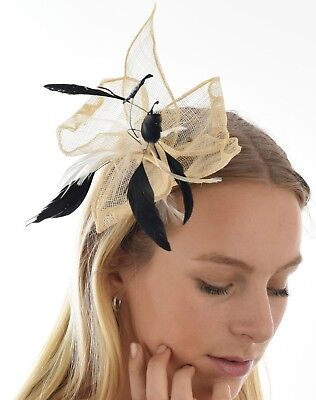 Spring Race Racing Melbourne Cup Party Feather Fascinator Brooch Cream Beige