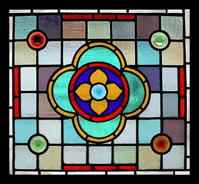 Fantastic Victorian Rondels Antique English Stained Glass Window