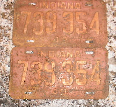 1949 Indiana License Plates 739 354