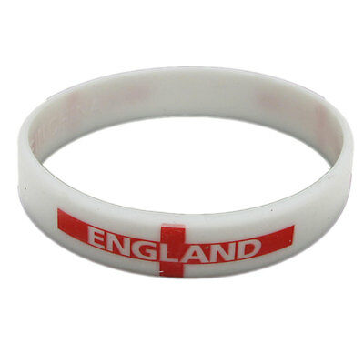 England Wristband Football Rugby Cricket Flag Supporters Rubber Adult Sized
