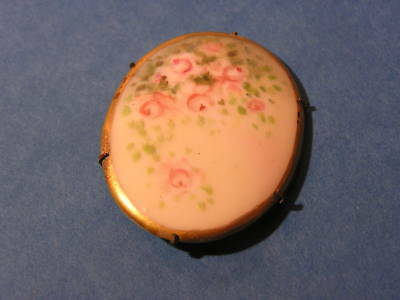Vintage Antique Hand Painted Floral Pin Brooch